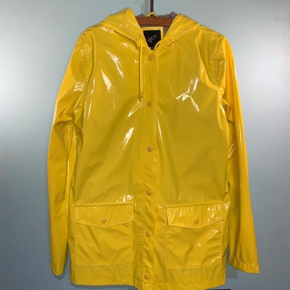 G21 classic yellow hooded rain jacket women's S